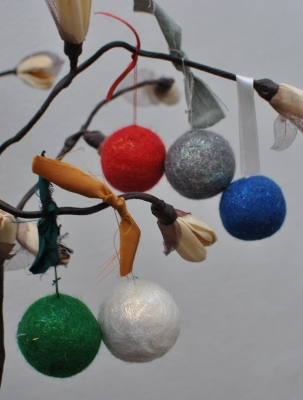wet felted baubles