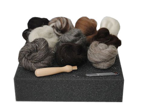 Starter Needle Felting Kit Natural Wool - with Handle