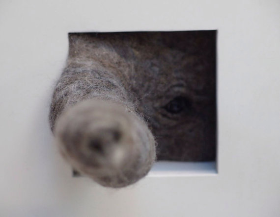 needle felted elephant peeping