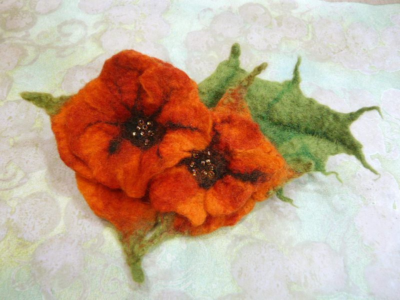 wet felted flower