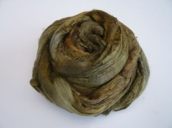 Mulbery Silk Tops / Fibres in 'Sludgy Green' - Hand dyed