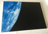 Original Oil Paint On Canvas Earth Space Painting 12 x 16 Inch NASA