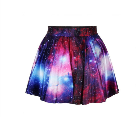 New Uniqie Fashion Women's NASA Space Galaxy Short Pleated Skirt Dress