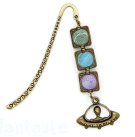 Hand Made Bookmark With Beads Alien Planets UFO Sci-Fi I Want to Believe Bronze