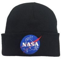 NASA Black Embroidered Beanie Astronaut Space Emblem Logo Unisex Winter Hat Cap
