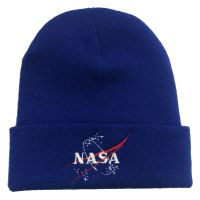 NASA Blue Embroidered Beanie Astronaut Space Emblem Logo Unisex Winter Hat Cap