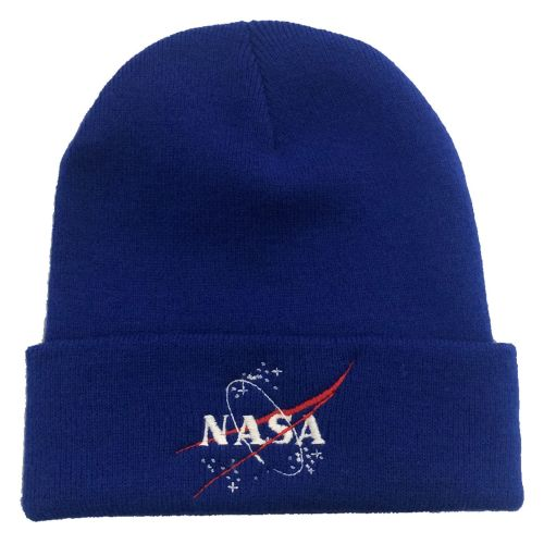 NASA Blue Embroidered Beanie Astronaut Space Emblem Logo Unisex Winter Hat