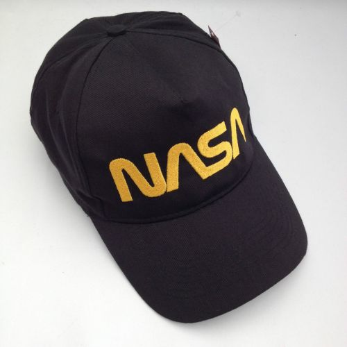 Nasa Embroidered Baseball Cap Hat Black with Yellow logo