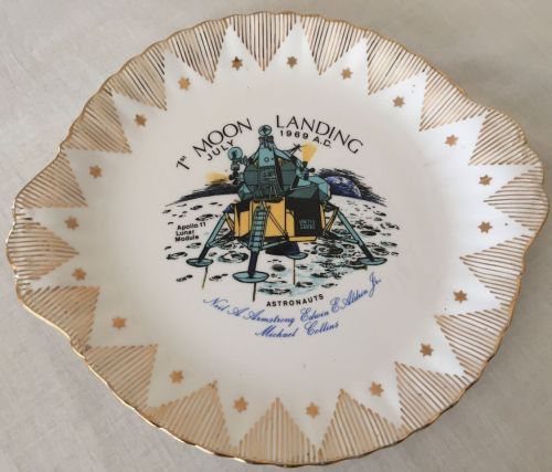 Apollo 11 Moon Landing Neil Armstrong Buzz Collins China Plate Collectable