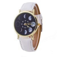 Moon Phase Astronomy Space Unisex Quartz Casual Watch Nasa (New white edition)