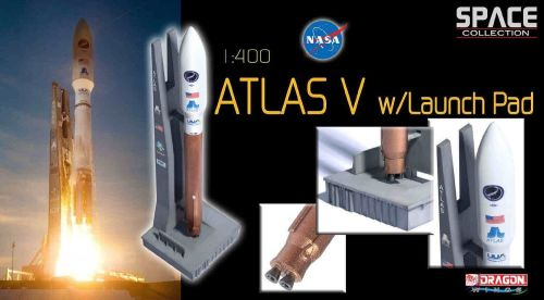 NASA Spacecraft Atlas V Rocket With Launch Pad Very High Detail Model