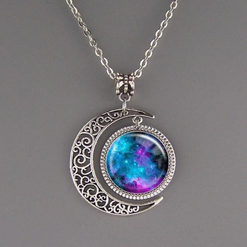 Nebula Galaxy Necklace Chain Pendant Silver