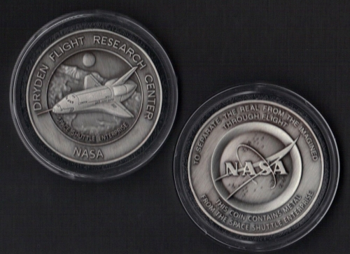 ENTERPRISE NASA DRYDEN COIN-MEDALLION - FLOWN METAL FROM SPACE SHUTTLE ENTE