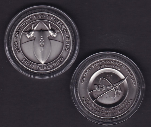 NEW-SR-71 -ARMSTRONG NASA DRYDEN FLOWN SR-71 Aircraft Metal COIN-MEDALLION