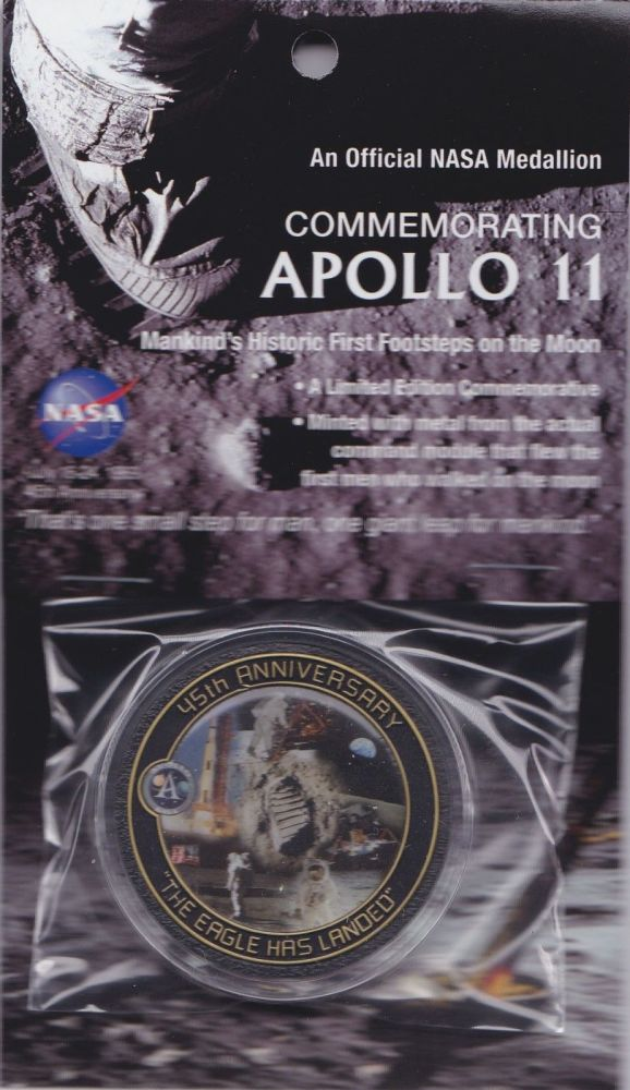 APOLLO 11 45th ANNIVERSARY NASA COIN / MEDALLION W/FLOWN COMMAND MODULE MET