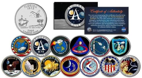APOLLO SPACE MISSIONS Colorized FL Quarters 13-Coin Complete Set NASA PROGR
