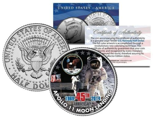 APOLLO 11 MOON LANDING * 45th Anniversary * JFK Half Dollar U.S. Coin NASA