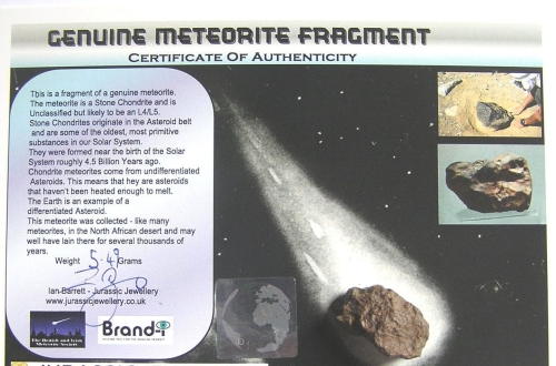 CARD MOUNTED STONE METEORITE - A UNIQUE GIFT