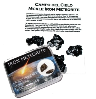Campo del Cielo iron meteorite fragment colour display case & ID card space