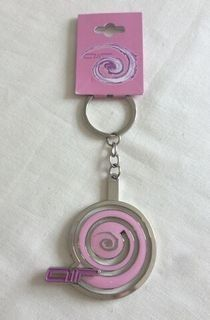 Alton Towers Theme Park Air Ride Pink Engraved Edge Motion Keyring Collecta