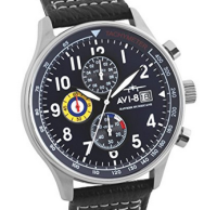 AVI-8 Men's Hawker Hurricane Aircraft Chronograph Quartz Watch with Blue Dial