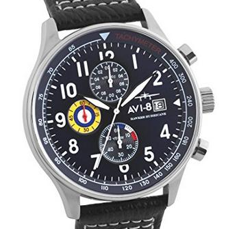 AVI-8 Men's Hawker Hurricane Aircraft Chronograph Quartz Watch with Blue Di