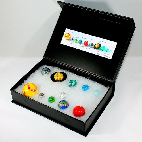 Solar System Orrery Globe Marble Collection in Presentation Box 11 Planets