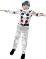 Deluxe Spaceman Boys Fancy Dress Astronaut Suit Nasa Galaxy Childrens Kid Costume New Ages 4 Upto 12