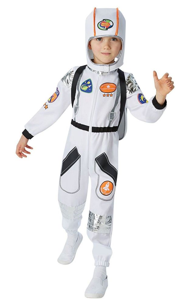 Astronaut Boys Fancy Dress Space Man Suit NASA Uniform Kid Childs Costume O