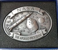 Apollo Program Neil Armstrong Metal Pewter Colour Plaque NASA Rare
