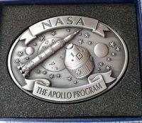 Apollo Program Neil Armstrong Metal Pewter Colour Plaque NASA Rare