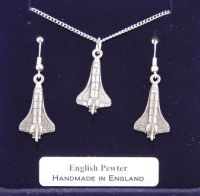 NASA Space Shuttle Necklace and Earrings Set in Quality Fine English Pewter Gift Boxed