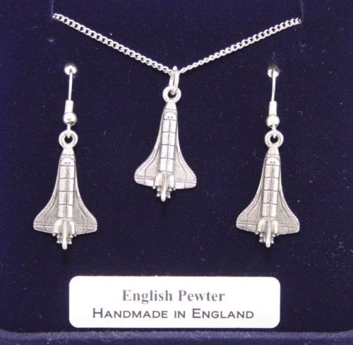NASA Space Shuttle Necklace and Earrings Set in Quality Fine English Pewter