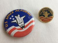 Space Shuttle Camp Florida Large Button Badge And Pin Set Rare