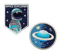 "Iron on/Sew on/Embroidered Patch ""Space Explorer"" (Set) Astronaut"