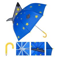 Kids Umbrella Childrens Rain Umbrella For Boy & Girl with 3D Rocket Space Craft & Planets Stars