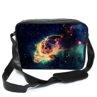 Galaxy Nebula Meteorite space Leather Unisex Messenger Bag For College School Daily Use Laptop Case Bag