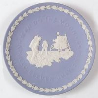 The Wedgwood Blue Jasper Plate of The NASA Apollo Landing on The Moon 1969