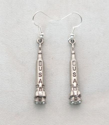 NASA Saturn V Apollo Pair of Space Rocket Earrings in Fine English Pewter,