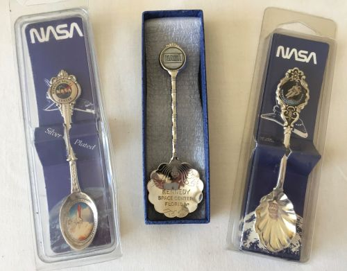 3 Rare NASA Space Collector Spoons Set Shuttle Apollo kennedy Space Center