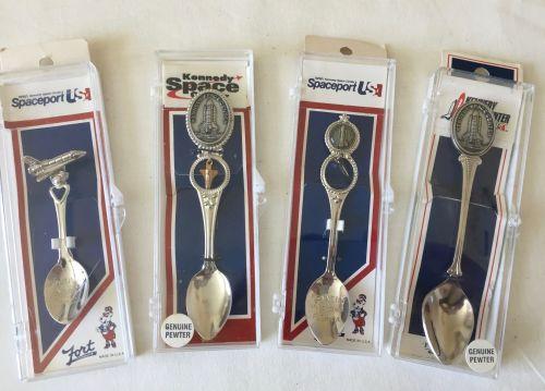 4 Rare NASA Space Collector Spoons Set Shuttle Apollo kennedy Space Center