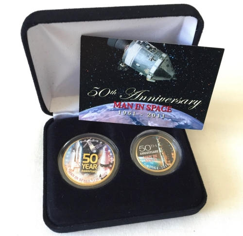 A 50th Anniversary NASA 24K Gold Rare Collectable 2 Coin Set