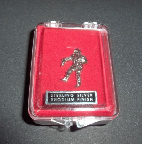 Astronaut Pin Badge Stirling Silver With Rhodium Finish In Display Case Ver