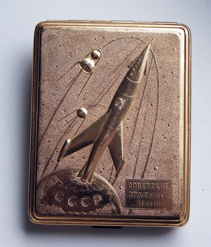 RARE VINTAGE CIGARETTE CASE SOVIET RUSSIAN USSR SPUTNIK SPACE PROGRAM COSMO