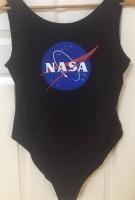 NASA Logo Leotard Swim Suit Costume Workout Exercise In Black