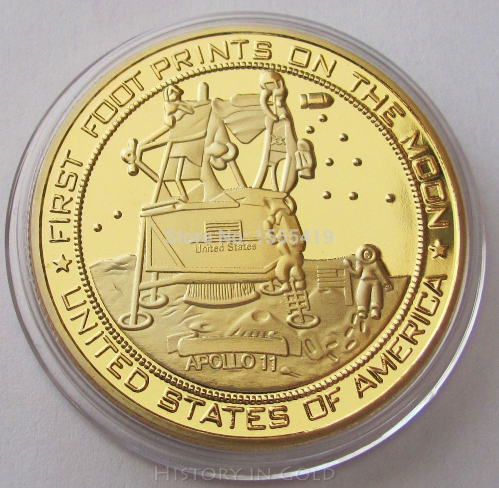 Moon Landing 18K Gold Plated Medallion Coin Apollo 11 Neil Armstrong Space NASA