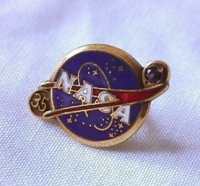 NASA Employee 35 Year Service Of Duty Pin Gold with Purple Gem Stone
