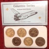 NASA Columbia Series Space Shuttle 6 Antique Solid Bronze Medallion Ltd Number Editions Set