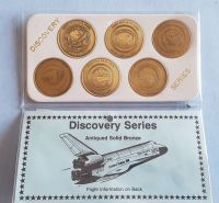 NASA Discovery Series Space Shuttle 6 Antique Solid Bronze Medallion Ltd Number Editions Set