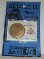 APOLLO 11 20th ANNIVERSARY MEDALLION COIN NASA KENNEDY SPACE CENTER ON CARD RARE